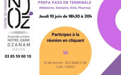 Réunion d'information Prépa Santé en Terminale jeudi 10 juin 2021